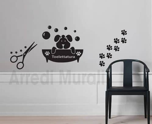 adesivi murali toelettatura cani decorazioni da parete