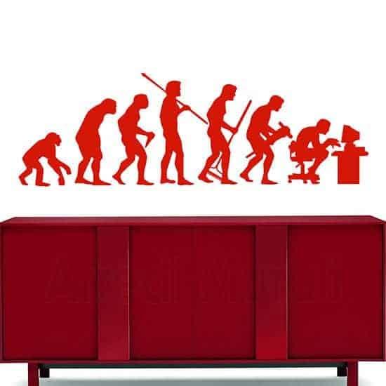 Adesivi da parete evoluzione uomo rosso