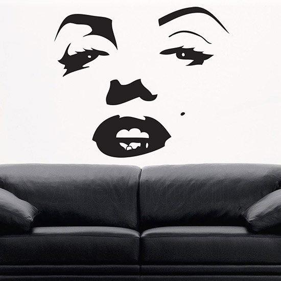 Adesivi murali Marilyn Monroe volto nero