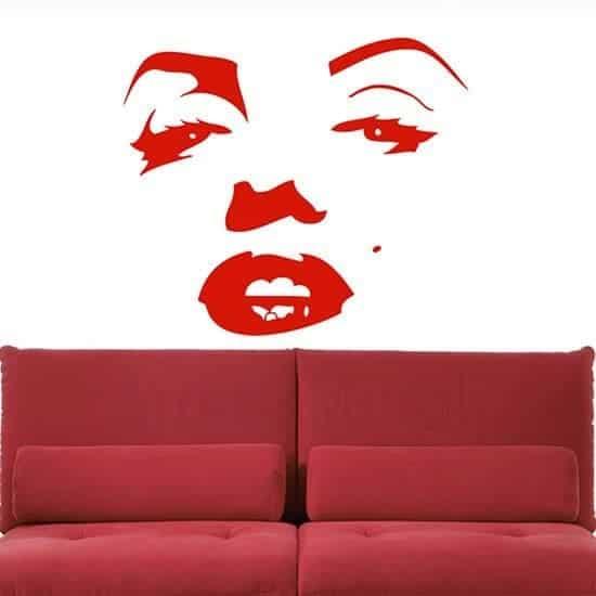 Adesivi murali Marilyn Monroe volto rosso