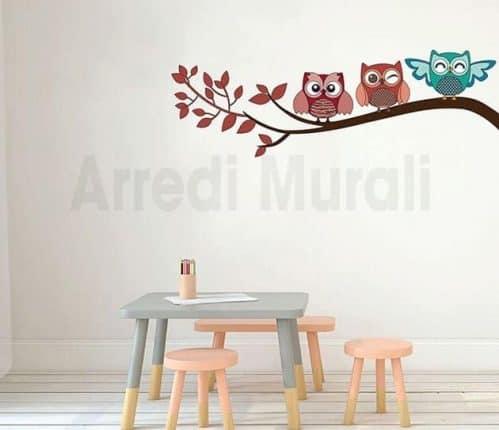 Adesivi murali bambini gufi camerette