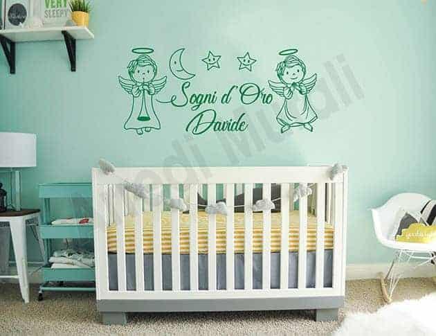 decorazione adesiva per le camerette dei bimbi con angioletti