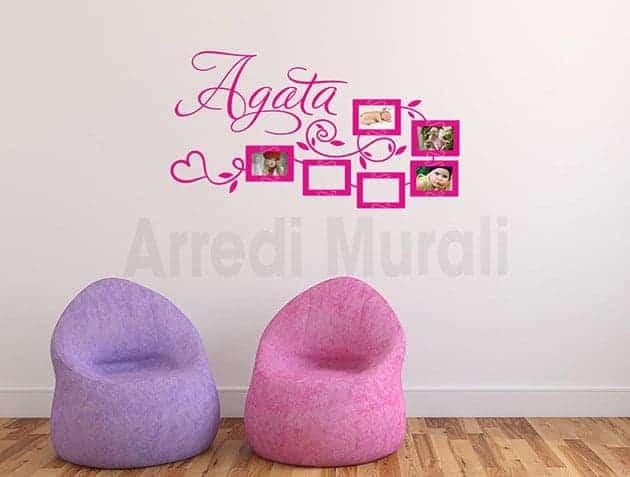 Stickers per camerette con foto e nome bimba
