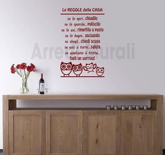 adesivi da parete regole della casa