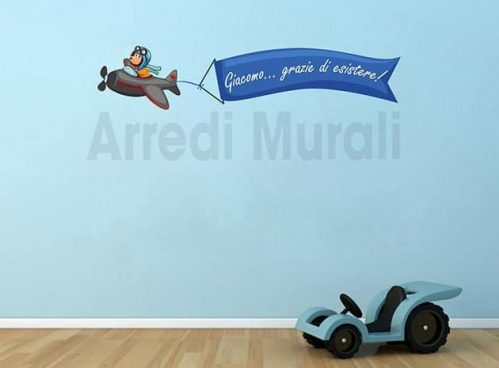 adesivo murale aeroplano personalizzato bambini