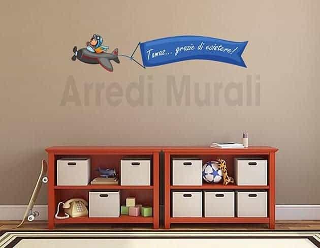 adesivo murale cameretta aeroplano con nome