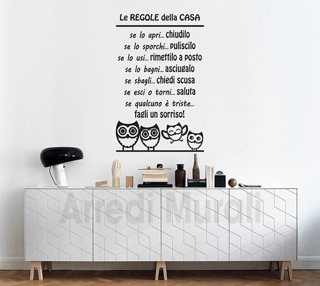 stickers murali regole della casa