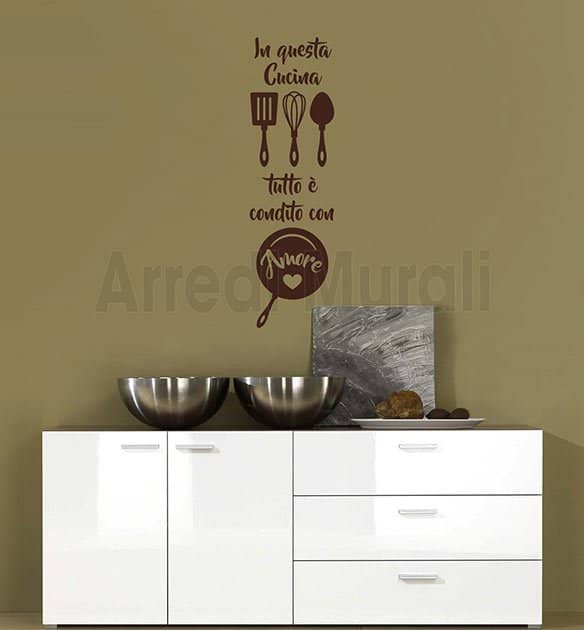 wall stickers cucina frase arredo