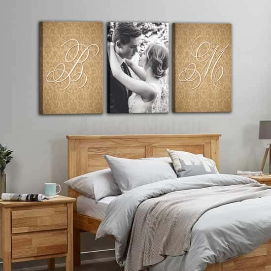 3 tele personalizzate foto e nomi per camera da letto matrimoniale