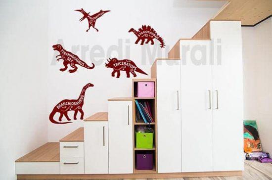 Adesivi da parete bambini dinosauri camerette