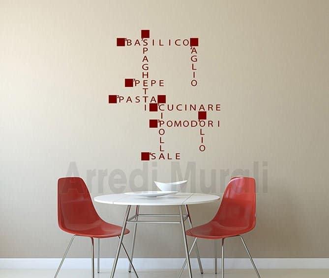 Adesivi da parete cucina parole crociate