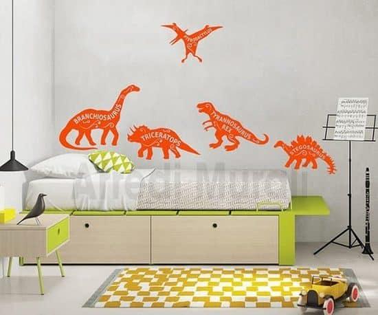 Adesivi murali bambini dinosauri camerette