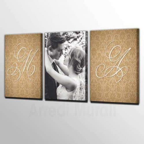Quadri moderni 3 stampe personalizzate con 1 foto e le iniziali dei vostri nomi