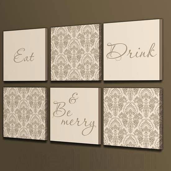 Stampe su tela eat drink & be merry 6 quadri moderni