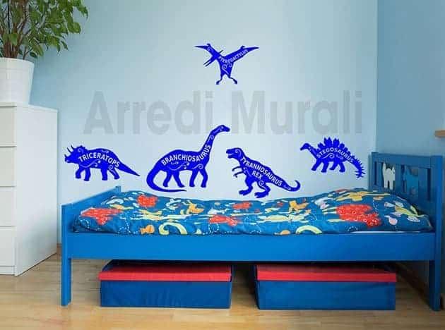 stickers murali bambini dinosauri camerette