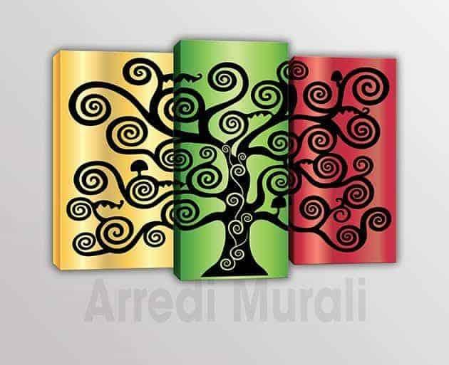 tris quadri moderni albero della vita