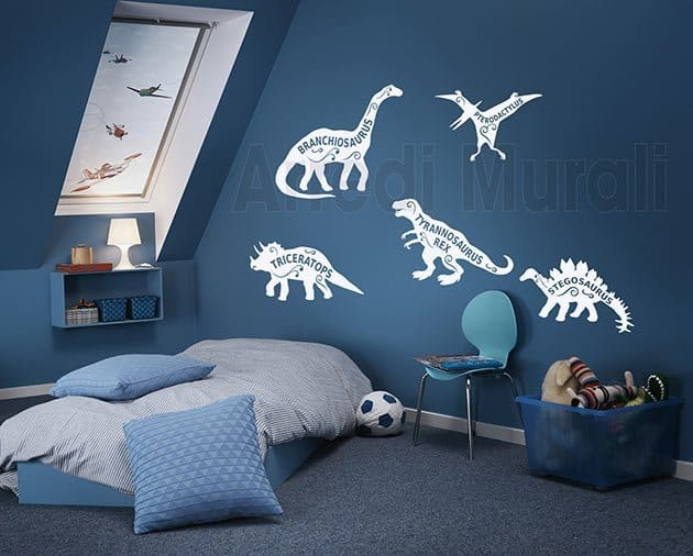 wall stickers bambini dinosauri camerette