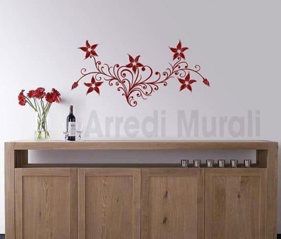 wall stickers fiori stilizzati decorazioni