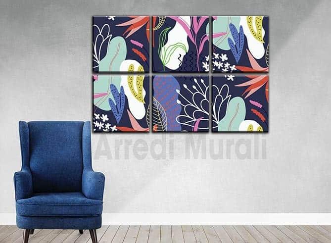 6 quadri moderni astratti stampe tela