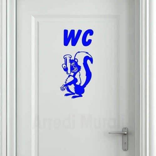 adesivi murali bagno con scritta wc e puzzola blu