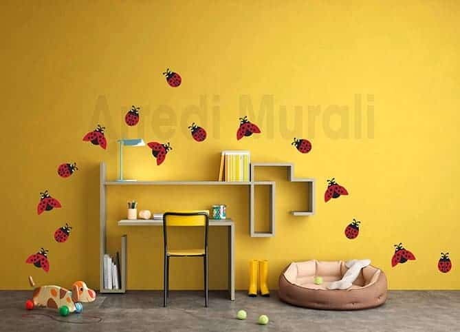 adesivi murali coccinelle decorazioni da parete