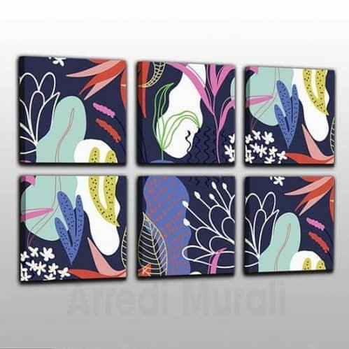 Quadri moderni astratti 6 quadri su tela floreali
