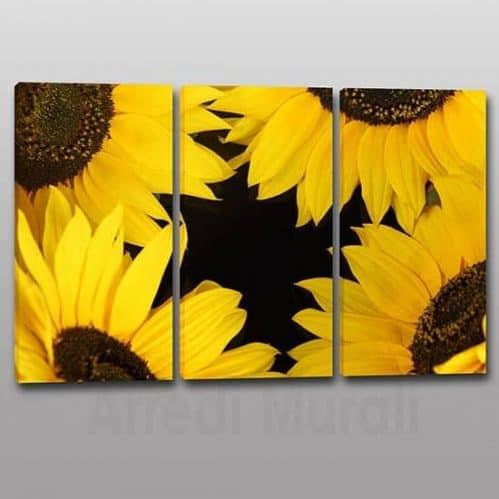 Quadri moderni girasoli fiori su 3 tele