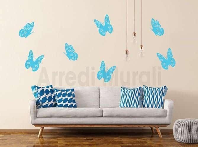 adesivi da parete farfalle sette decorazioni murali
