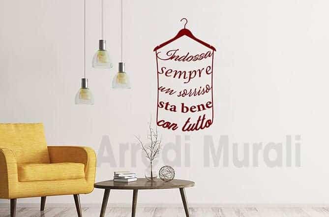 adesivi da parete frase sorriso decorazioni