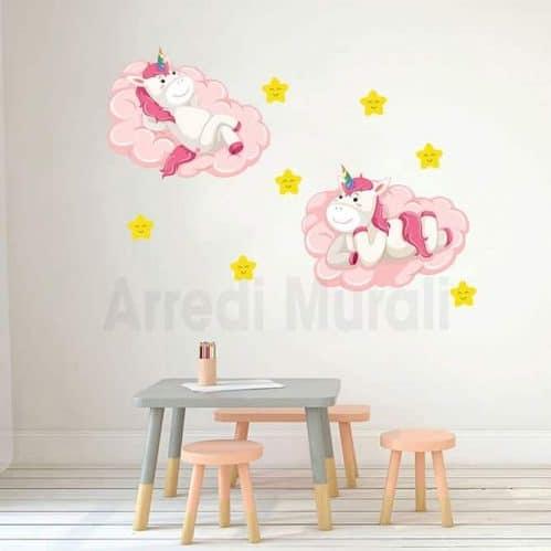 adesivi murali bambini unicorni camerette