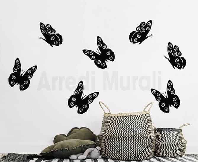 adesivi murali farfalle sette decorazioni da parete