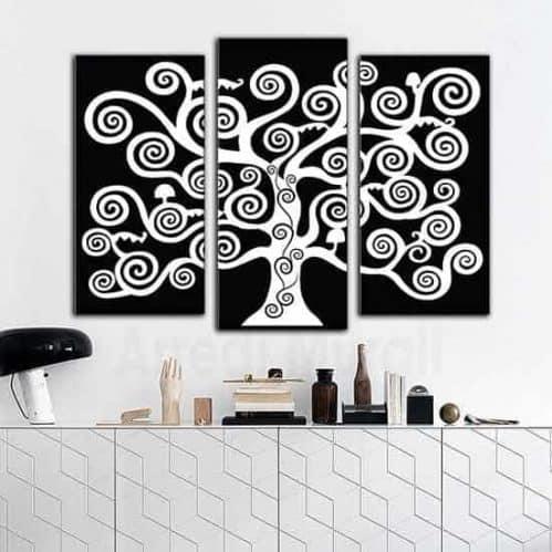 quadri moderni tele albero della vita in bianco e nero