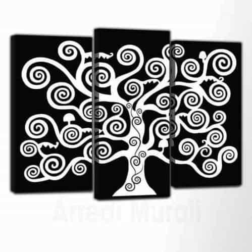 quadri moderni tele Albero della Vita sfondo nero albero bianco