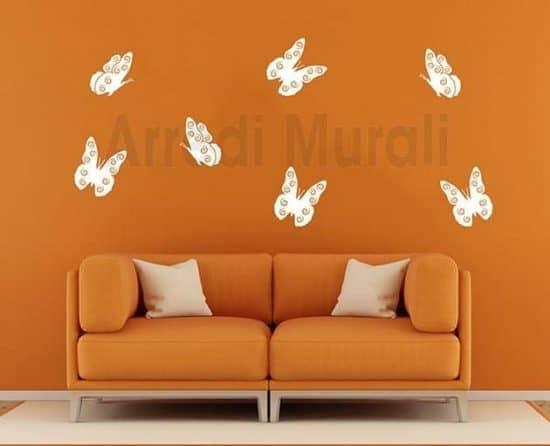 stickers murali farfalle sette decorazioni da parete