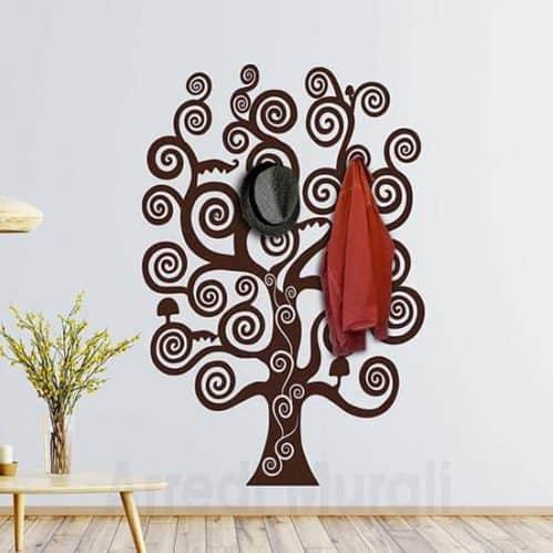 Sticker murale appendiabiti albero della vita marrone