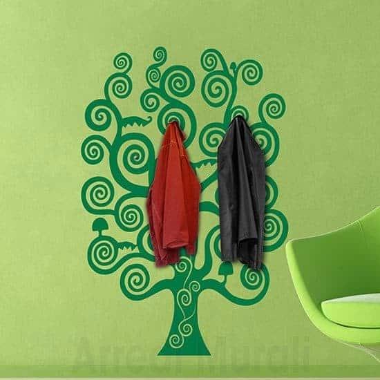 Sticker murale appendiabiti albero della vita verde