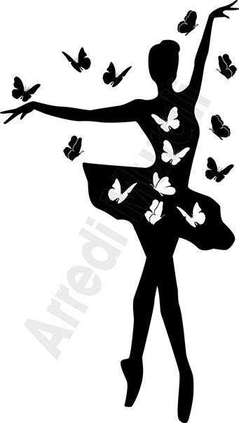 adesivi da muro ballerina farfalle