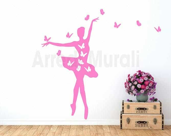 adesivi da parete ballerina farfalle