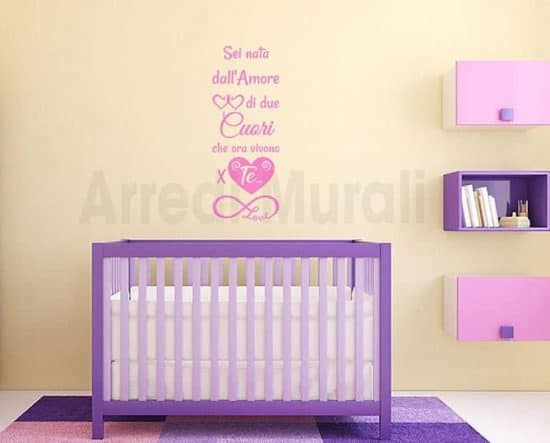 adesivi da parete frase nascita cameretta bambini
