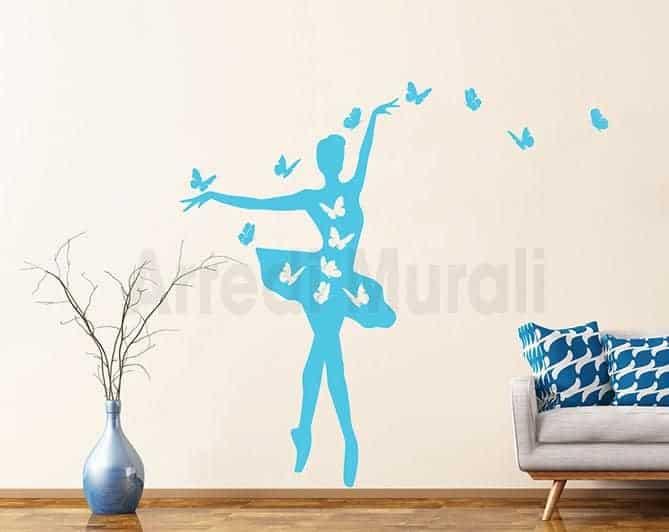 adesivi murali ballerina farfalle
