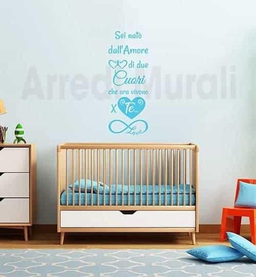 adesivi murali frase nascita cameretta bambini