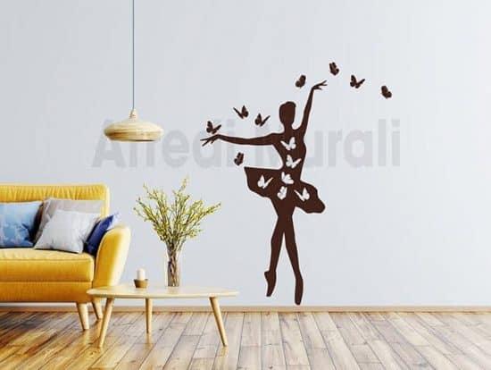 stickers murali ballerina farfalle