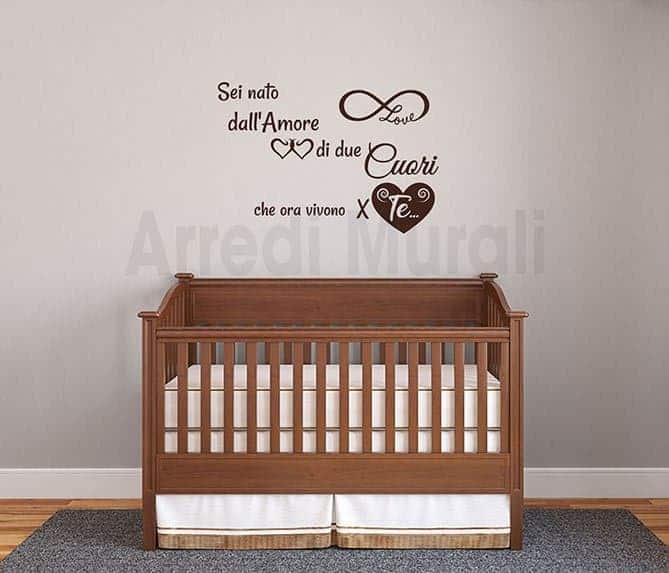 wall stickers frase nascita cameretta bambini