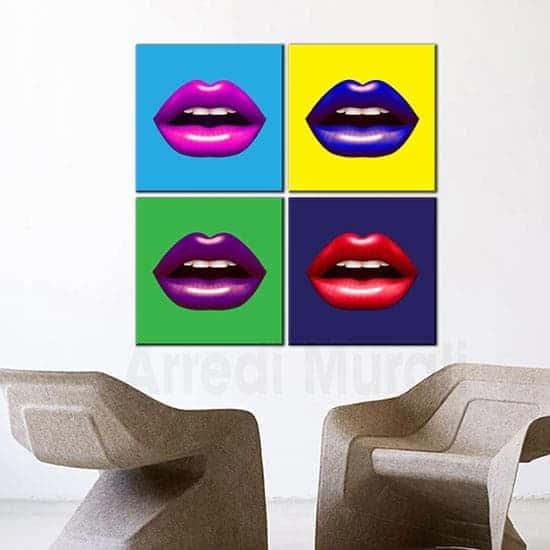 Decorazioni da parete quadri pop art 4 tele in diversi colori