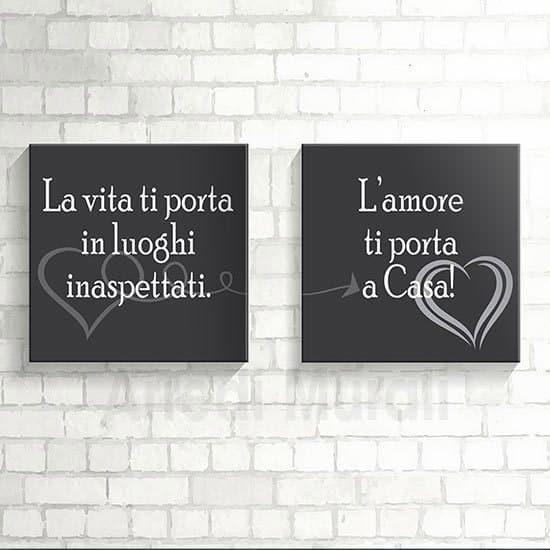 Quadri moderni frase amore per la casa 2 quadri con stampa su tela