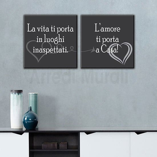 Quadri moderni frase sulla casa 2 quadretti con stampa su tela