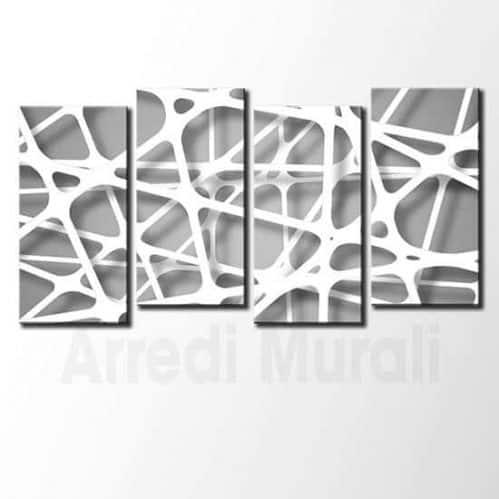 Quadri moderni linee astratti bianchi e argento
