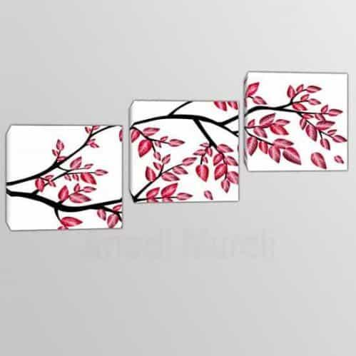 3 quadri moderni in arte digitale ramo di albero