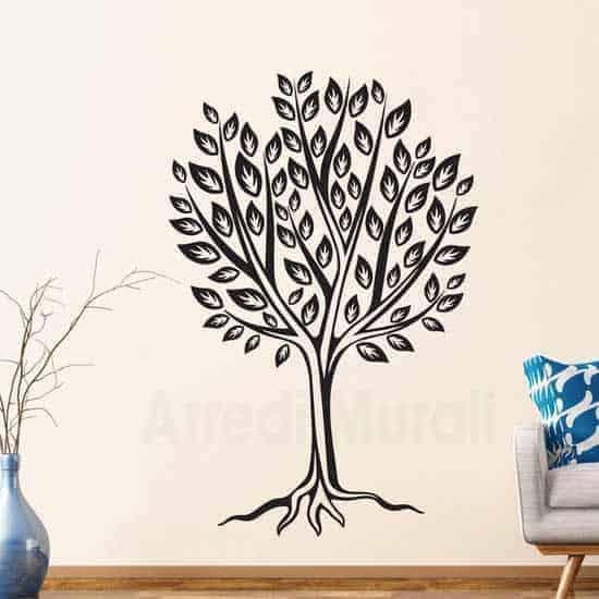 Stickers murali albero stilizzato nero