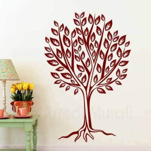 adesivo murale con albero stilizzato bordeaux